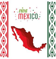 viva mexico map decoration confetti vector image vector image