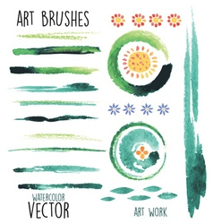 watercolor green brushes and floral elements vector image vector image
