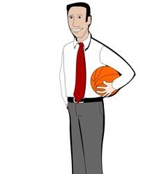 Young businessman with basketball ball vector image