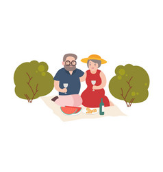 happy elderly couple having romantic dinner vector image