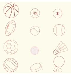 Sport icons line design vector image