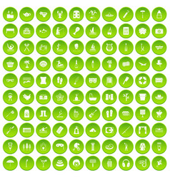 100 recreation icons set green circle vector