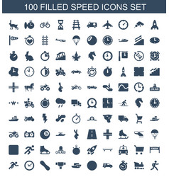 100 speed icons vector