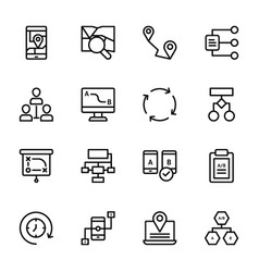Ab testing line icons vector