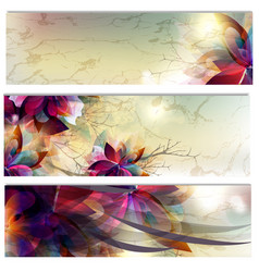 abstract floral brochures set vector image