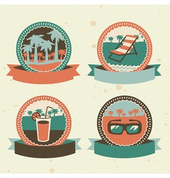 Abstract logo - retro labels with summer icons vector