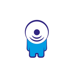 abstract person character with wi fi symbol head vector image