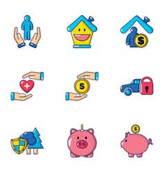 Accumulated finances icons set cartoon style vector