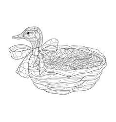 adult coloring bookpage a cute duck on basket vector image