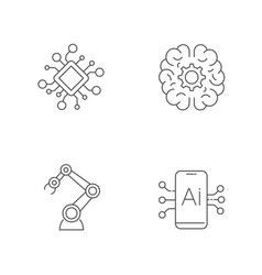 ai robotics artificial intelligence icon set vector image