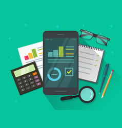 analytics data results on mobile phone screen vector image