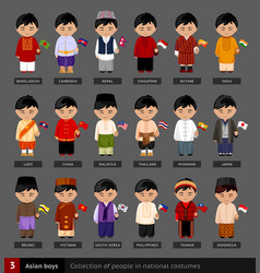 asian boys in national dress vector image
