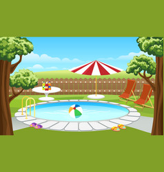 backyard pool with fence and parasol vector image