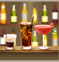 Bar cocktails set composition vector