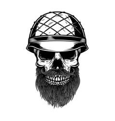 Bearded soldier skull in army helmet design vector