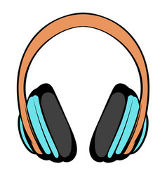 big headphones icon cartoon vector image