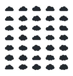 Big set of thirty-five black cloud shapes vector