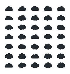 big set thirty-five black cloud shapes vector image