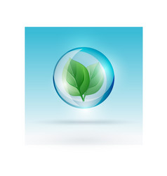 bubble with leaf vector image