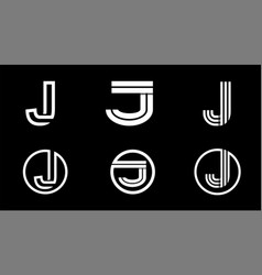 capital letter j modern set for monograms logos vector image