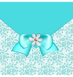 Card with lace and bow vector image