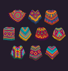 cartoon mexican poncho mexico traditional clothes vector image
