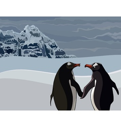 cartoon the penguins couple in the north vector image