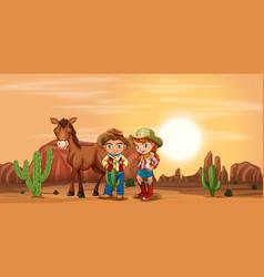 Children at the desert vector