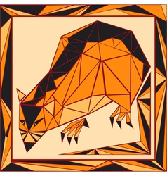 Chinese horoscope stylized stained glass rat vector image