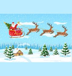 Christmas santa claus rides reindeer sleigh vector