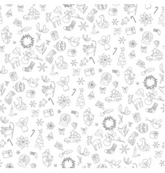 christmas seamless pattern xmas elements symbols vector image vector image
