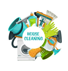 Cleaning tools banner clean house service vector