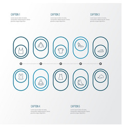 Clothes outline icons set collection of waistcoat vector