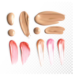 Collection of various foundation and lipstick vector