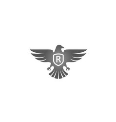 creative eagle bird shield r letter logo design ve vector image