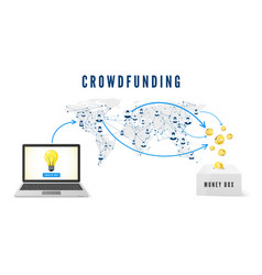 crowdfunding concept start up idea launch people vector image