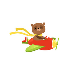 Cute brown bear flying on red plane funny vector