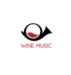 design template trumpet and wine glass vector image