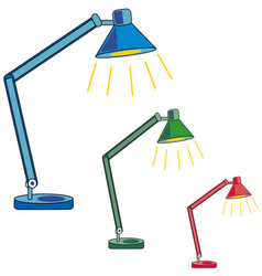 desk lamp three lamps blue green pink light vector image