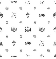 Dessert icons pattern seamless white background vector