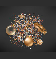 different golden christmas elements on black vector image