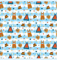 Dirndl dress lederhosen oktoberfest pattern vector