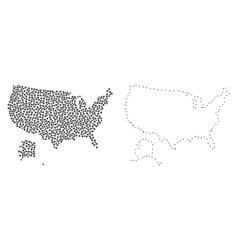 dot contour map of usa and alaska vector image