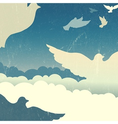 Dove in sky retro poster vector