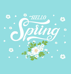 elegant hello spring invitation calligraphy vector image