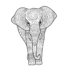 Elephant coloring book for adults vector