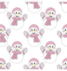 entangle snowman seamless pattern hand drawn vector image