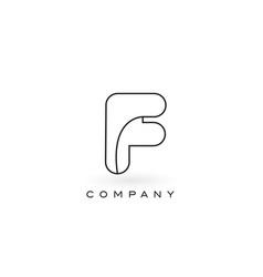 F monogram letter logo with thin black monogram vector
