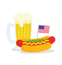 Fast food banner with american flag and hot dog vector