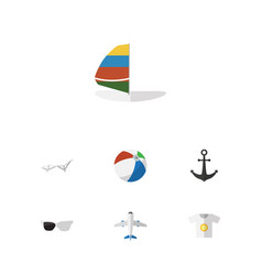 flat icon beach set of aircraft deck chair ship vector image